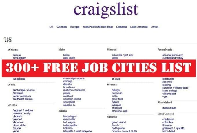 give USA Craigslist Free Job Cities List