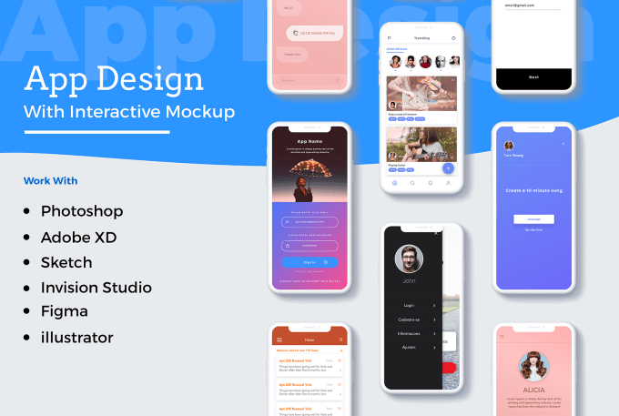 do beautiful app design with interactive mockup