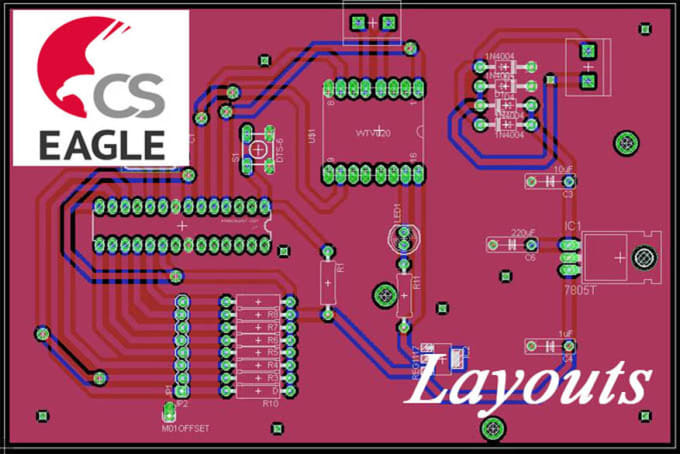 Design your custom pcb schematic and layout using eagle by Sameera824
