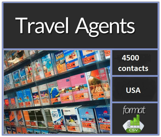 give you 1833 USA travel agents and 2700 travel agencies contact list