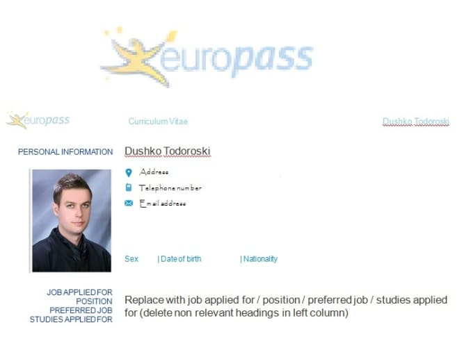 write or edit your official europass cv by duskotodoroski