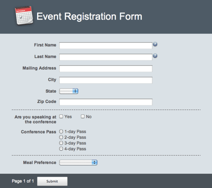 Create Online Registration Booking And Survey Forms By
