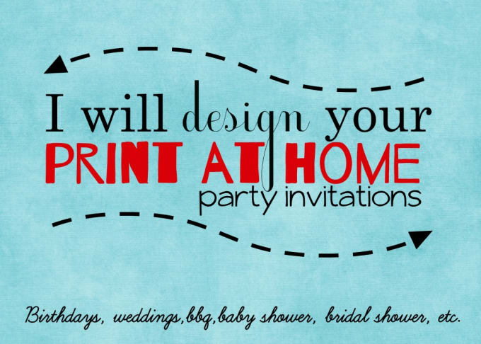 Your Print At Home Party Invitations