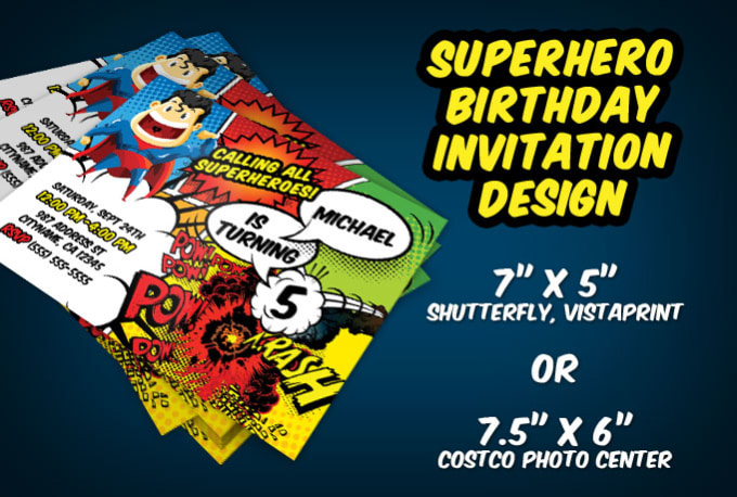 I Will Customize A Superhero Birthday Invitation Design