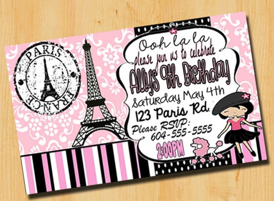 Make you a paris themed birthday invitation by customizedcards make you a paris themed birthday invitation filmwisefo