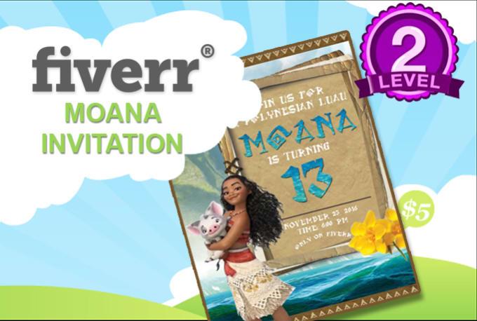 I Will Design A Disney Moana Birthday Invitation