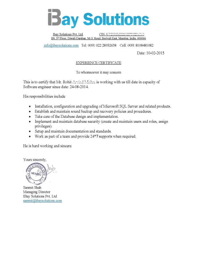 Provide Letter Of Reference Or Work Experience Certificate By Sanmit