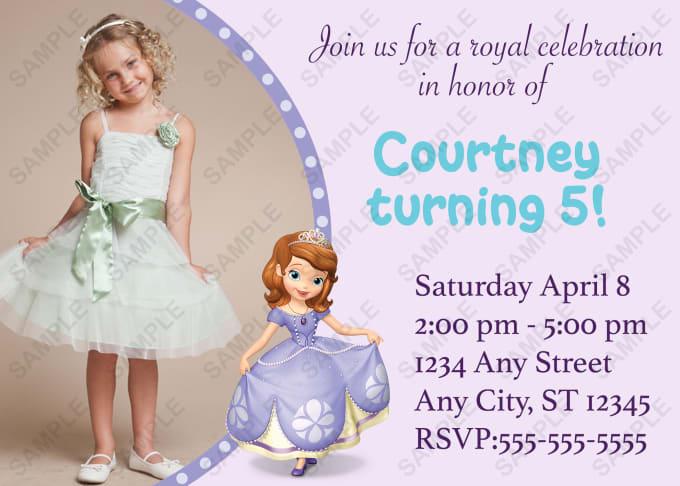 Trishadesign I Will Create A Custom Disney Sofia The First Invitation For 5 On Fiverr