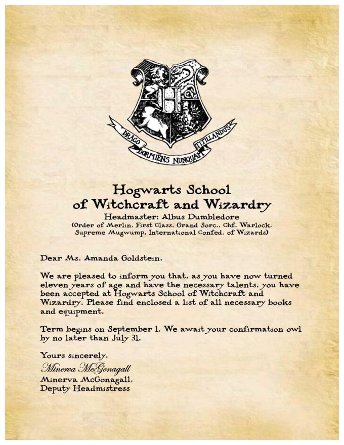 Custom Hogwarts Acceptance Letter.Agoldrn I Will Create A Custom Digital Hogwarts Acceptance Letter For 5 On Www Fiverr Com