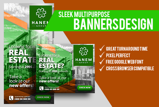 do amazing and unique stunning real estate banner design by realitymedia