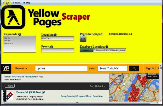 scrape yellow pages business data name,email,phone Etc