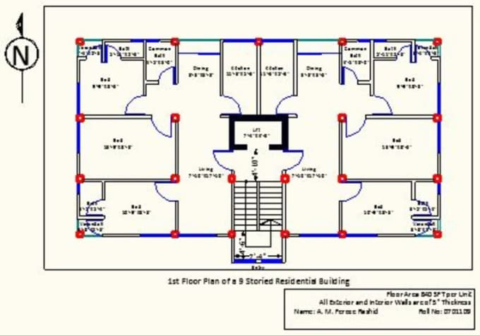 Plan buildings using autocad 3d studio max solidworks by for Apartment plans autocad