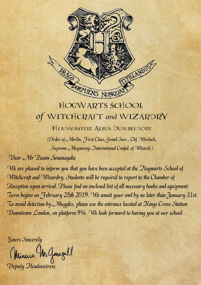 Create personalized hogwarts acceptance letter by Pasansenanayake