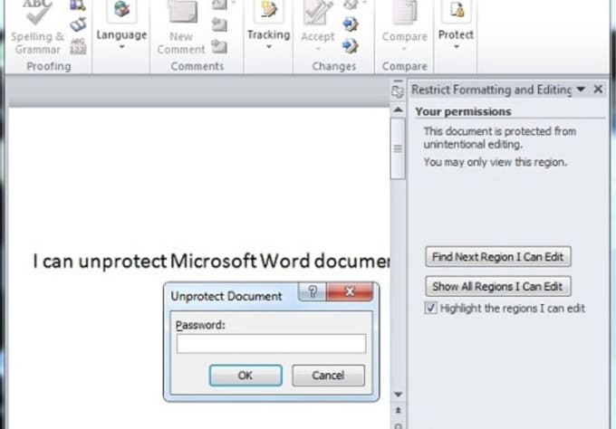 how to unprotect document in word