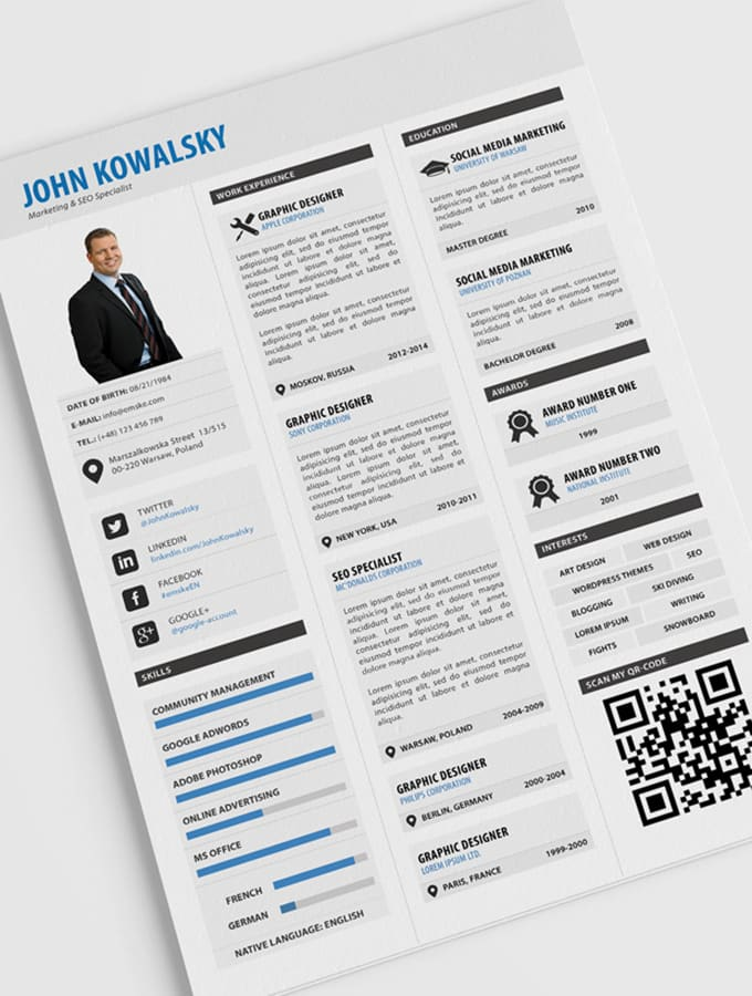 design eye catching resume  cv for you by asimmondal