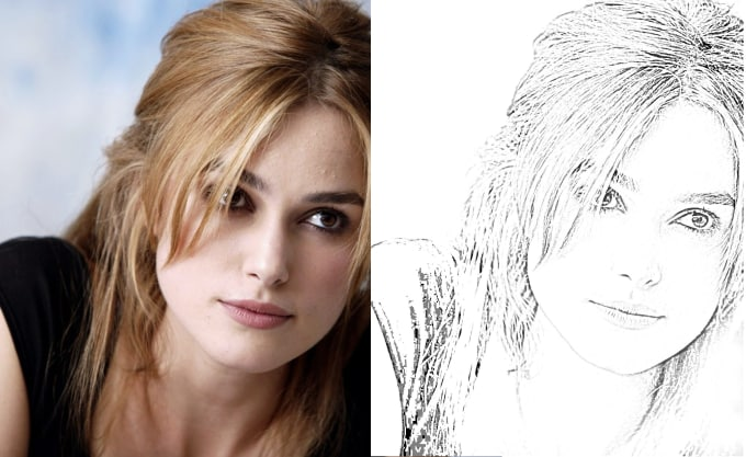 do Photoshop editing photo to sketch background removing etc