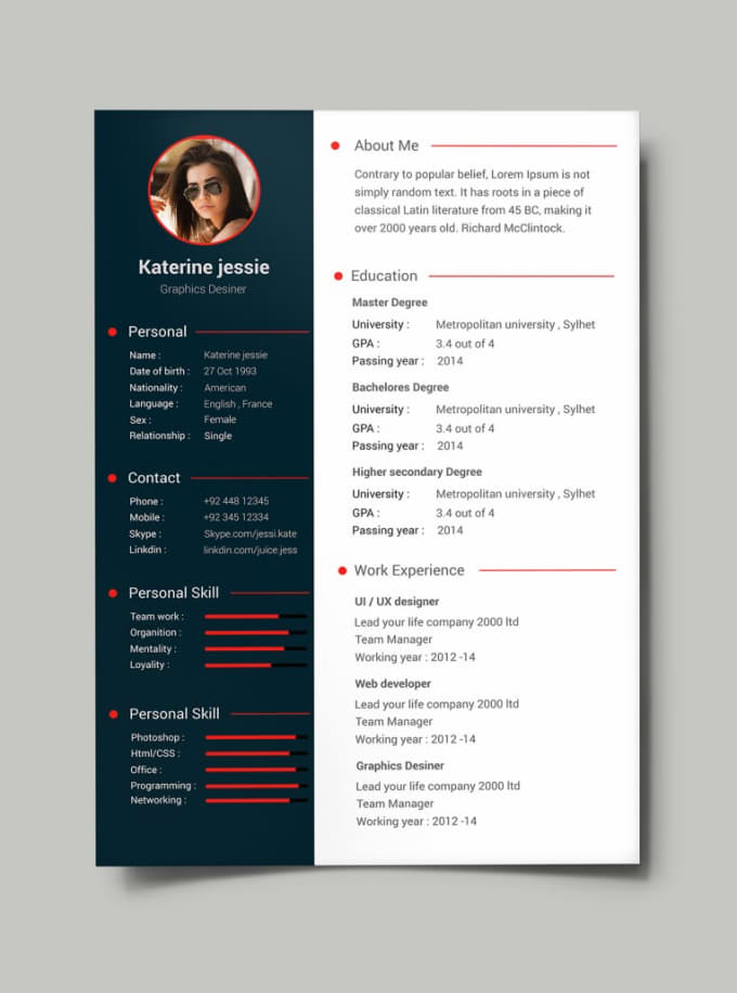 Do resume design, cv, design cover letter by Kabirdesigner