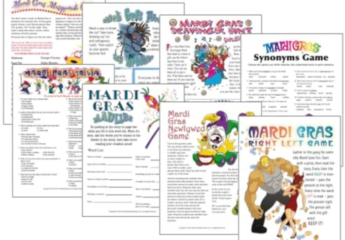 picture relating to Printable Party Game named ashleyunob : I will present yourself 3 Mardi Gras printable celebration online games for $5 upon