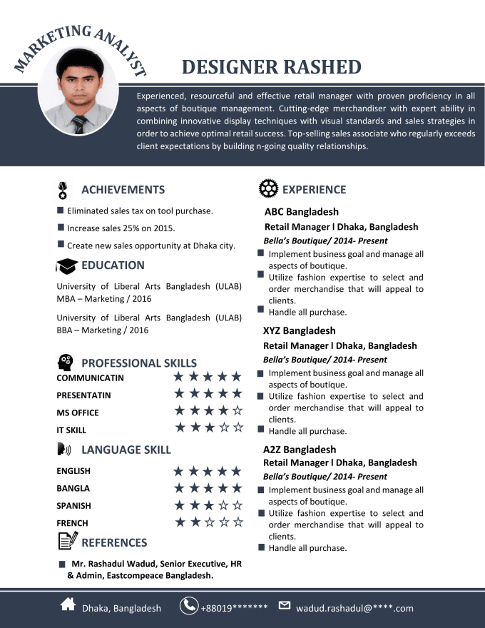design creative resume, cv and cover letter