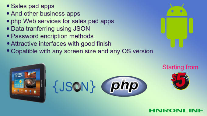 hnronline : I will create salespad and business android apps using JSON for  $5 on www fiverr com