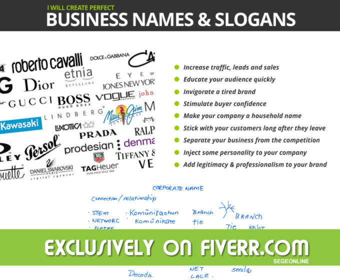 create five unique brandnames or slogans
