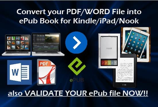 convert your PDF or word to epub for kindle plus validation