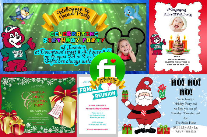 Design Birthday And Christmas Party Invitation Cards