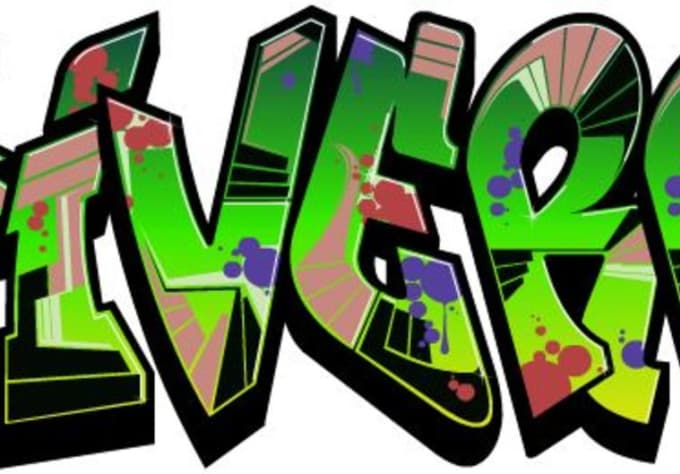 Convert 5 words to graffiti style text and color by Multitask