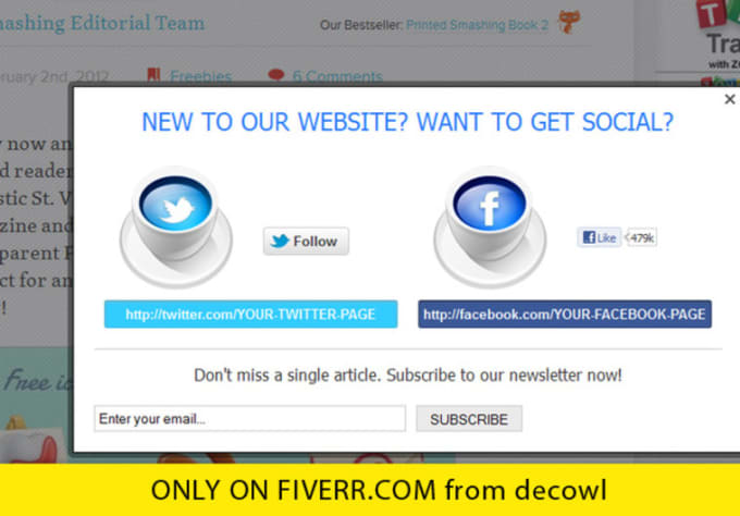 make an overlay welcome message with social links for your website