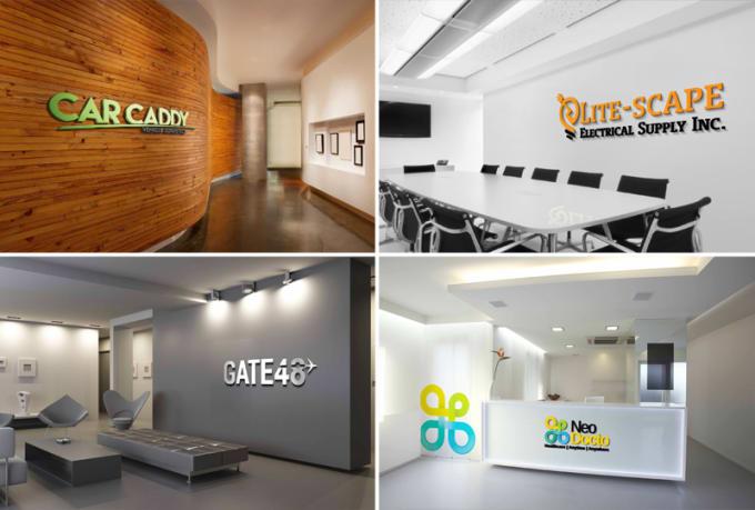 Bon Design Your Logo On 10 Office Walls Realistically
