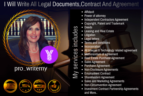 Write All Legal Contentscontracts And Agreements