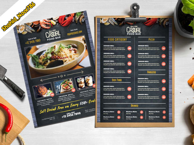 do food flyers and restaurant menu in one day by shahid noor786