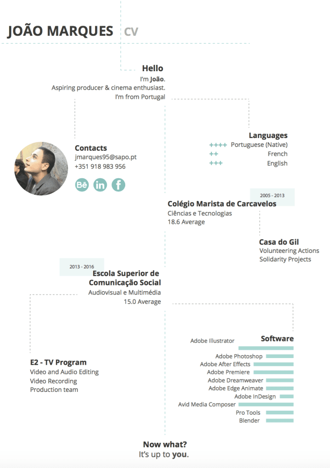 joaomarques95 : I will make you a beautiful CV, presentation or infographic  for $20 on www fiverr com