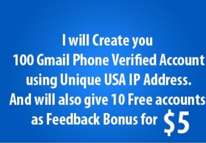 create 100 new USA Verified Gmail pva accounts with unique ip usa address