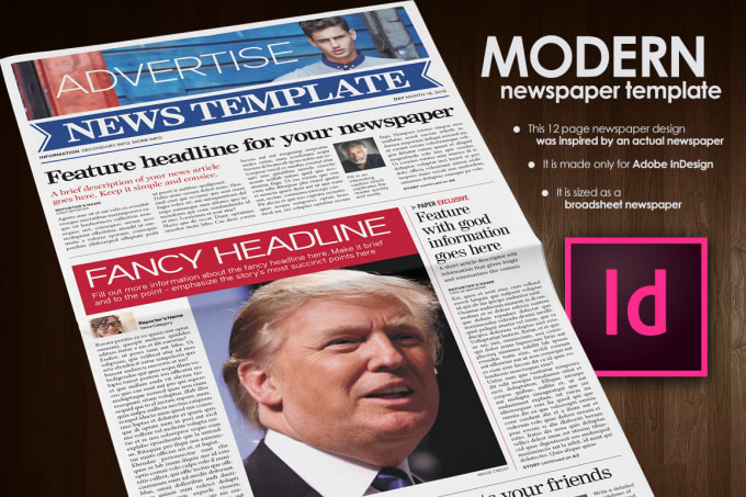 provide you with a fully editable newspaper frontpage to