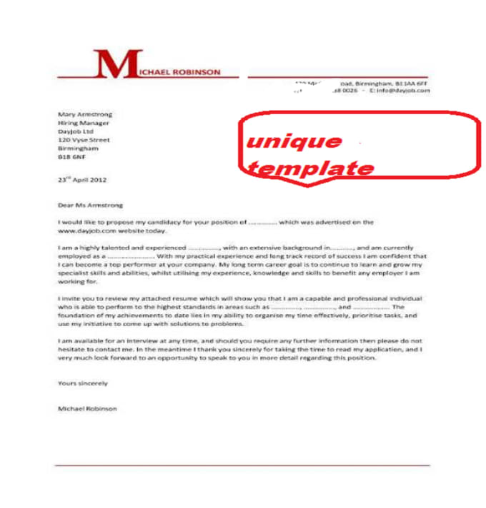 write an excellent cover letter