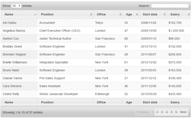 apply search, sorting,paging, and export features to table