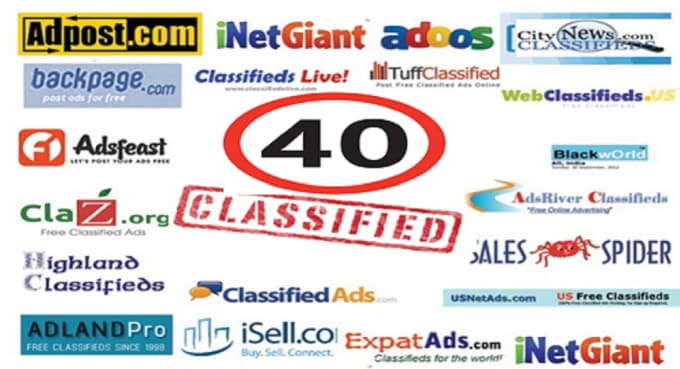 40 classified ads on top rated sites in USA