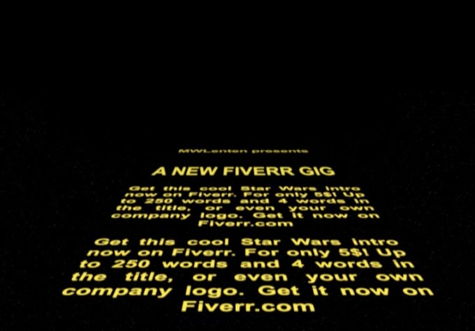 create this custom star wars intro with your 250 words by