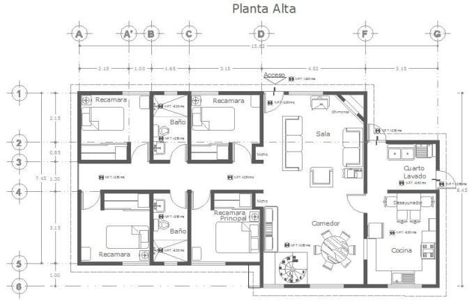 Crear planos de planta profesional en 2d en autocad by for Pdf planos arquitectonicos