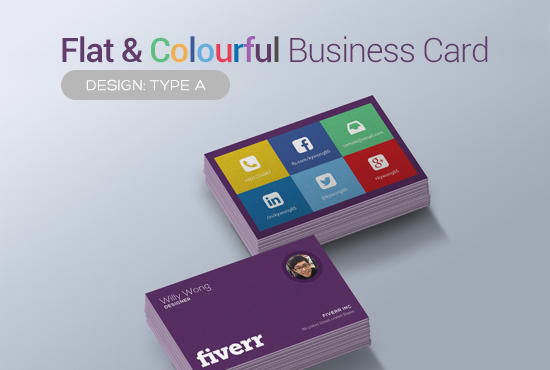 Provide you a flat colorful or single color business card by kywong85 provide you a flat colorful or single color business card reheart Gallery
