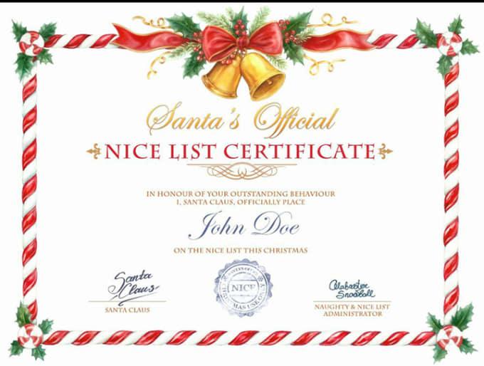 create your nice list certificate by nabhkohli