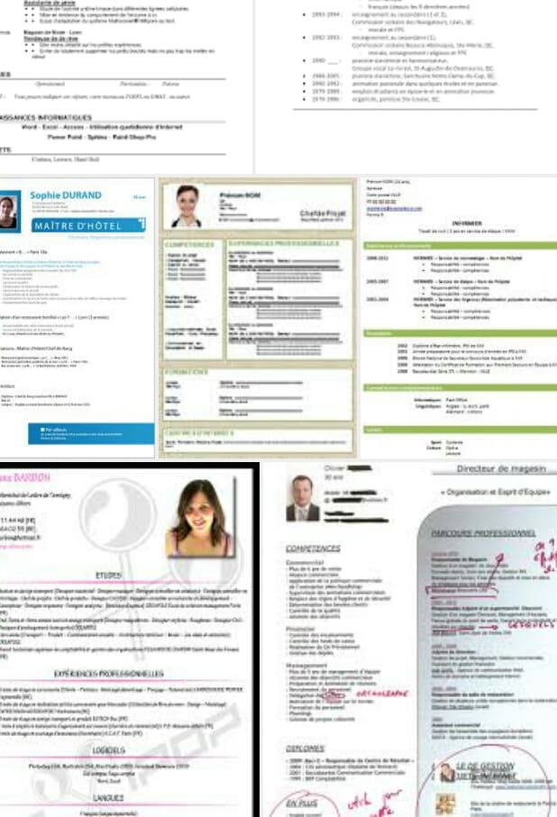 creation curriculum vitae ou cv professionnel en francais