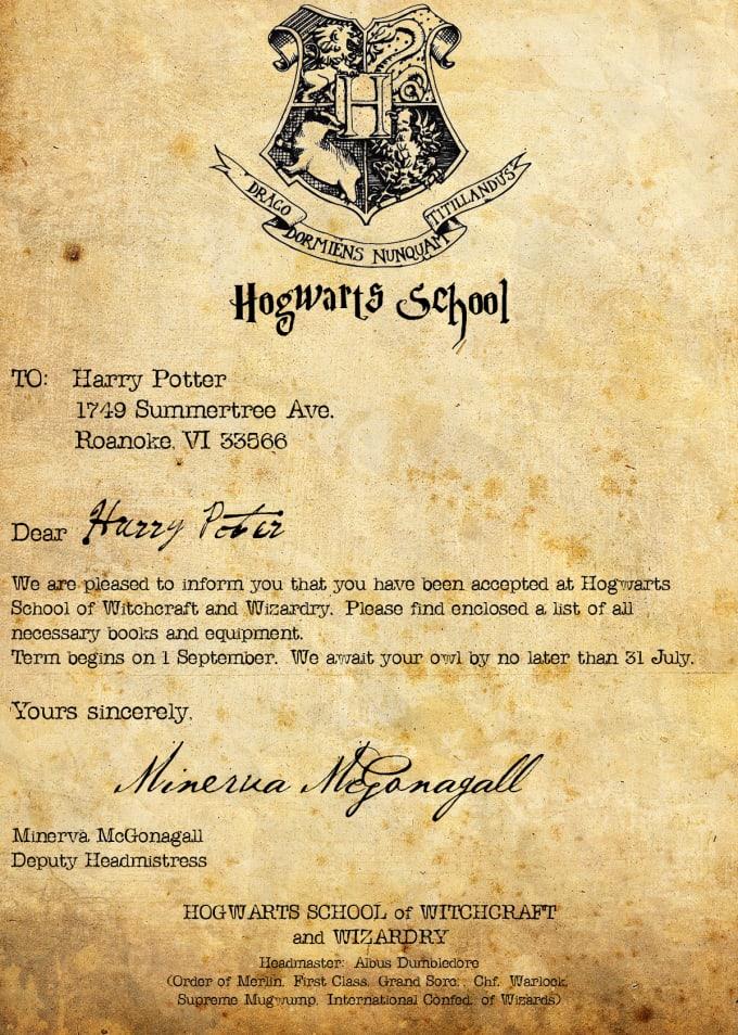 Открытка в виде письма из хогвартса, днем