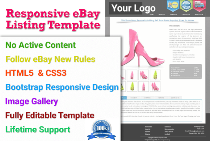 Design Responsive Ebay Template No Active Content By Irfan - Ebay template design