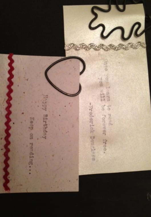 send you two handmade wire bookmarkers with a personalized message