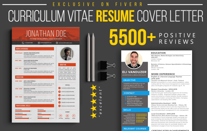 design resume cv cover letter by fiverrstar