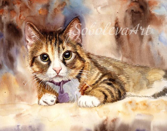 0fee45870783 Custom cat portrait original watercolor, gift for mom by Sobolevaart