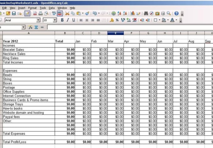 create an income  expense spreadsheet for your small