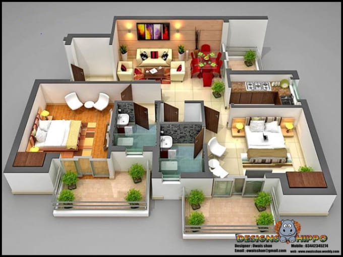 owaisshan : I will create professional 3d max up from floor plan the  fastest for $50 on www fiverr com
